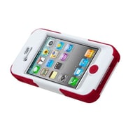 Insten® Goalkeeper Hybrid Protector Cover W/Stand F/iPhone 4/4S, White/Red