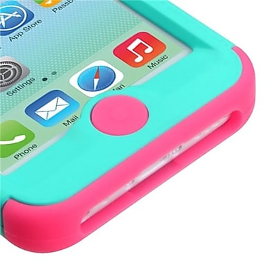 Insten® TUFF Hybrid Rubberized Phone Protector Cover F/iPhone 5C, Teal Green/Electric Pink