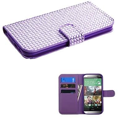 Insten® Book-Style MyJacket Wallet For HTC-One M8, Purple Diamonds