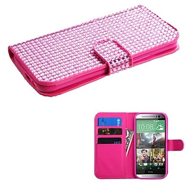 Insten® Book-Style MyJacket Wallet For HTC-One M8, Pink Diamonds