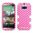 Insten® TUFF Hybrid Phone Protector Cover For HTC-One M8, Pink/White Dots