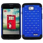 Insten® Protector Cover For LG MS323/VS450PP, Dark Blue/Black Luxurious Lattice Dazzling
