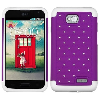 Insten® Protector Cover For LG MS323/VS450PP, Purple/Solid White Luxurious Lattice Dazzling