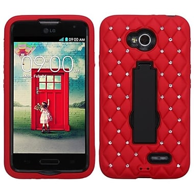 Insten® Symbiosis Stand Protector Cover For LG MS323/VS450PP, Diamond Black/Red