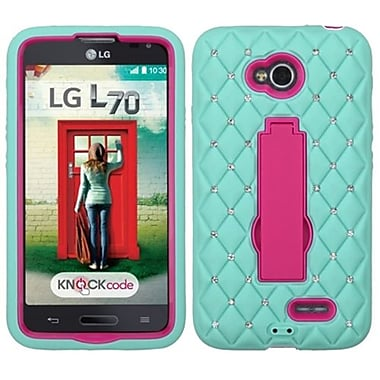 Insten® Symbiosis Stand Protector Cover For LG MS323/VS450PP, Diamond Hot-Pink/Sky Blue