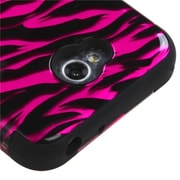 Insten® TUFF Hybrid Phone Protector Cover For LG MS323/VS450PP, Hot-Pink/Black/2D Silver Zebra