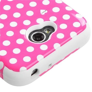 Insten® TUFF Hybrid Phone Protector Cover For LG MS323/VS450PP, Pink/White Dots