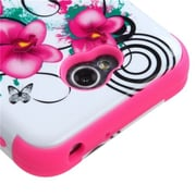 Insten® TUFF Hybrid Phone Protector Cover For LG MS323/VS450PP, Morning Petunias/Electric Pink