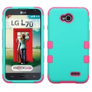 Insten® TUFF Hybrid Phone Protector Cover For LG MS323/VS450PP, Teal Green/Electric Pink
