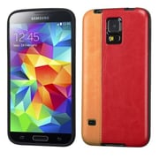 Insten® Candy Skin Cover With Leather Backing For Samsung Galaxy S5, Orange/Red