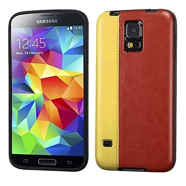 Insten® Candy Skin Cover With Leather Backing For Samsung Galaxy S5, Yellow/Reddish Brown