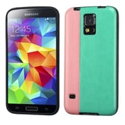 Insten® Candy Skin Cover With Leather Backing For Samsung Galaxy S5, Pink/Grass Green