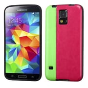 Insten® Candy Skin Cover With Leather Backing For Samsung Galaxy S5, Fluorescent-Green/Hot-Pink