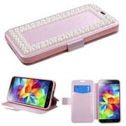 Insten® Diamante MyJacket For Samsung Galaxy S5, Pink Silk Texture Large Pearls