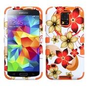 Insten® TUFF Hybrid Protector Cover F/Samsung Galaxy S5, Hibiscus Flower Romance/Orange