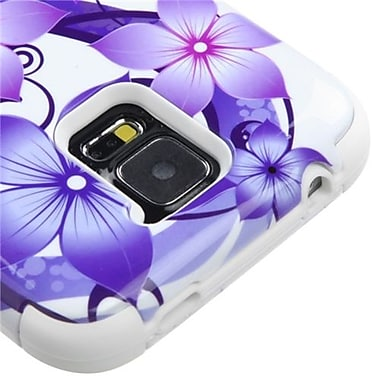 Insten® TUFF Hybrid Protector Cover F/Samsung Galaxy S5, Purple Hibiscus Flower Romance/White