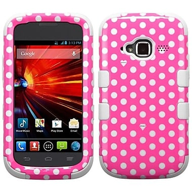 Insten® TUFF Hybrid Protector Cover For ZTE Z730 Concord II, Pink/White Dots