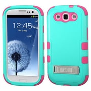 Insten® Phone Protector Cover ( With Stand) For Samsung Galaxy S3, Natural Teal Green/Electric Pink