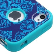 Insten® TUFF Hybrid Phone Protector Cover F/iPhone 4/4S, Purple/Blue Damask/Tropical Teal