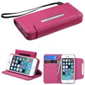 Insten® Book-Style MyJacket Wallet Case For iPhone 5/5S, Hot-Pink
