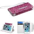 Insten® MyJacket Wallet Case F/iPhone 5/5S, Pink Leopard Skin