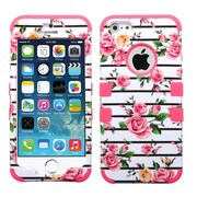 Insten® TUFF Hybrid Phone Protector Cover F/iPhone 5/5S, Pink Fresh Roses/Electric Pink