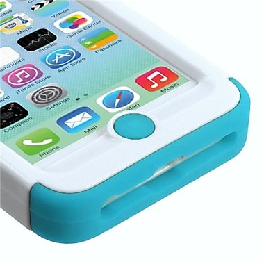 Insten® TUFF Hybrid Phone Protector Cover W/Stand For iPhone 5C, Natural Ivory White/Tropical Teal