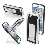 Insten® Protector Cover W/Advanced Armor Stand F/4.7 iPhone 6, White/Black Leather Backing/Black