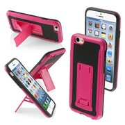 "Insten® Protector Cover W/Advanced Armor Stand F/4.7"" iPhone 6, Pink/Black Leather Backing/Black"
