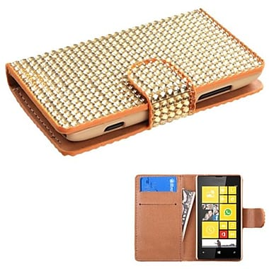 Insten® Diamonds Book-Style MyJacket Wallet With Card Slot For Nokia Lumia 520, Gold