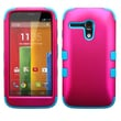 Insten® TUFF Hybrid Protector Case For Motorola G, Titanium Solid Hot-Pink/Tropical Teal