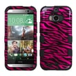 Insten® TUFF Hybrid Phone Protector Cover For HTC-One M8, Hot-Pink/Black/2D Silver Zebra