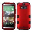 Insten® TUFF Hybrid Phone Protector Cover For HTC-One M8, Titanium Red/Black