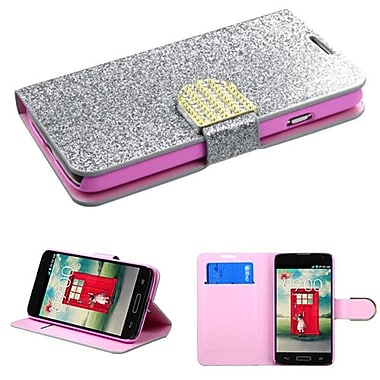 Insten® MyJacket Wallet For LG MS323/VS450PP, Silver Glittering