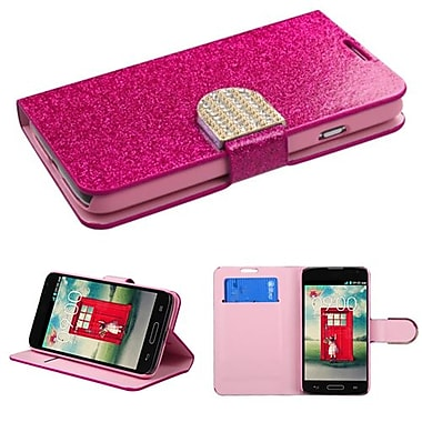 Insten® MyJacket Wallet For LG MS323/VS450PP, Hot-Pink Glittering