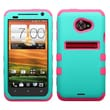 Insten® TUFF Hybrid Phone Protector Case For HTC EVO 4G LTE, Teal Green/Electric Pink