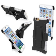 "Insten® Rubberized Protector Cover W/Car Armor Stand F/4.7"" iPhone 6, Black/White"
