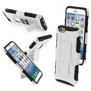 "Insten® Rubberized Protector Cover W/Car Armor Stand F/4.7"" iPhone 6, White/Black"