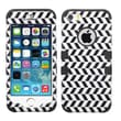 Insten® TUFF Hybrid Phone Protector Cover F/iPhone 5/5S, Black/White 3D Stripes/Black