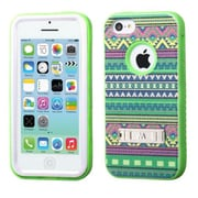 Insten® VERGE Hybrid Protector Cover W/Stand F/iPhone 5C, Tribal Sun/Electric Green