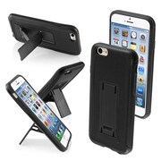 Insten® Protector Cover W/Advanced Armor Stand F/4.7 iPhone 6, Black/Black Leather Backing/Black