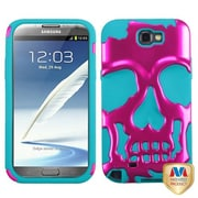 Insten® Hybrid Protector Case For Samsung Galaxy Note II, Metallic Hot-Pink/Tropical Teal Skullcap