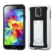 Insten® Advanced Armor Stand Protector Cover W/Leather Backing For Samsung Galaxy S5, White/Black