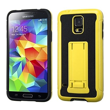 Insten® Advanced Armor Stand Protector Cover W/Leather Backing For Samsung Galaxy S5, Yellow/Black
