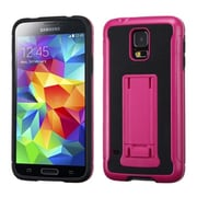 Insten® Advanced Armor Stand Protector Cover Leather Backing For Samsung Galaxy S5, Hot-Pink/Black