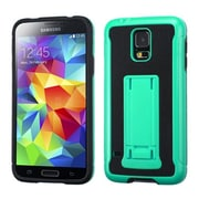 Insten® Advanced Armor Stand Protector Cover W/Leather Backing For Samsung Galaxy S5, Teal/Black