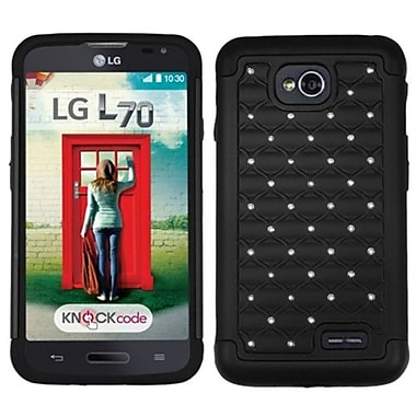 Insten® Protector Cover For LG MS323/VS450PP, Black/Black Luxurious Lattice Dazzling