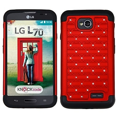 Insten® Protector Cover For LG MS323/VS450PP, Red/Black Luxurious Lattice Dazzling