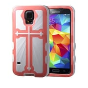 Insten® Rubberized Protector Cover F/Samsung Galaxy S5, Transparent Pink/Solid White Cross