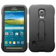 Insten® Symbiosis Stand Protector Cover For Samsung G870A (Galaxy S5 Active), Black/Black